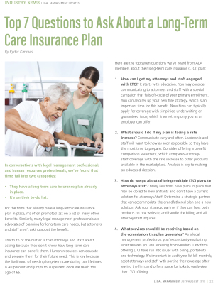 Legal Management Article: Top 7 Questions to Ask About a Long-Term Care Insurance Plan