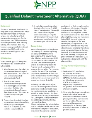Qualified Default Investment Alternative (QDIA)